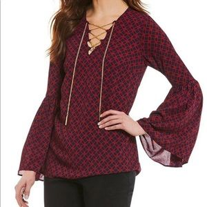 MICHAEL KORS Rope Print Chain-Lace Bell Sleeve Top